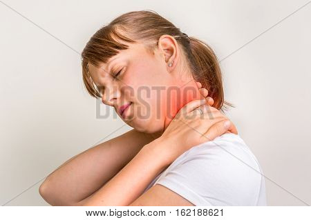 Woman With Muscle Injury Having Pain In Her Neck