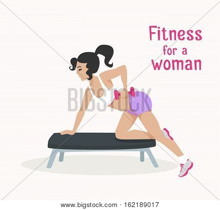 Vector girl makes exercises with dumbbells on bench. Flat, cartoon style woman does sports, working out her shoulder muscles. fitness, active lifestyle illustration. Print banner poster design element