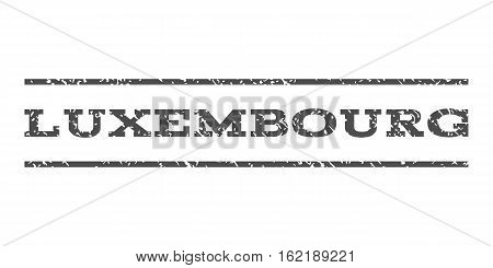 Luxembourg watermark stamp. Text caption between horizontal parallel lines with grunge design style. Rubber seal stamp with scratched texture. Vector gray color ink imprint on a white background.