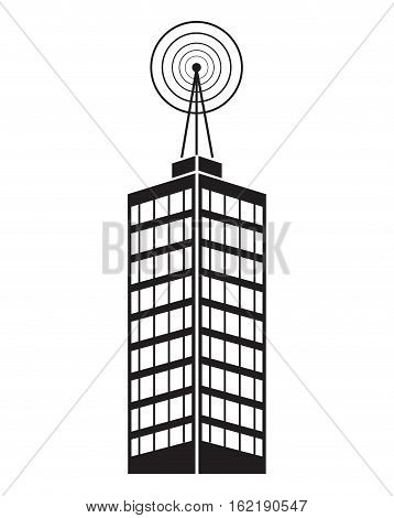 building telecommunication mast television vector illustration eps 10