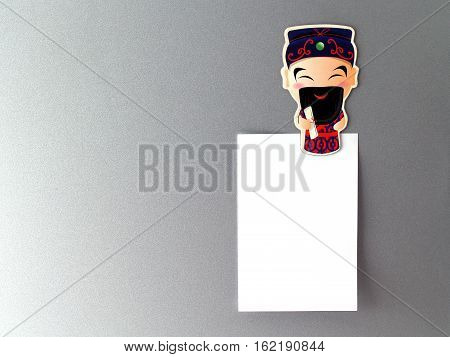 Chinese God fridge magnet with blank note, souvenir fridge magnet chinese style for home decoration