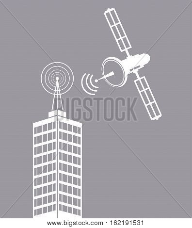 building telecommunication satellite mast tv vector illustration eps 10