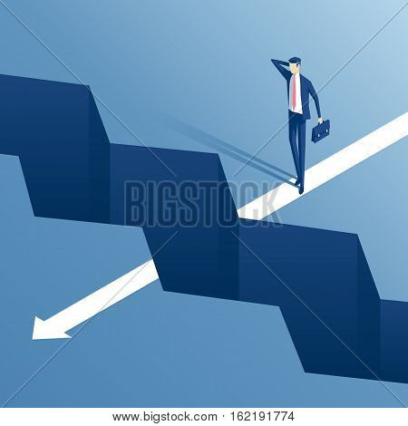 businessman standing on the edge of the abyss and does not dare to continue the path an employee is on the edge of the gap and think how to overcome it business concept challenge and obstacle