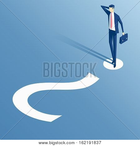 thinking businessman standing on white question mark confused the employee is on the question mark business concept problem and question