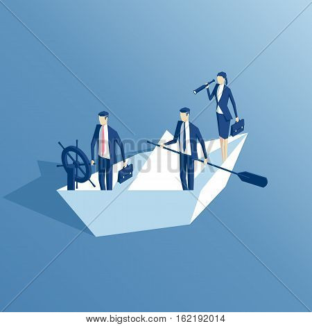 isometric business people are floating on a paper boat on the sea the leader at the helm another businessman stands with a paddle a businesswoman looking through a telescope. business concept team and leadership