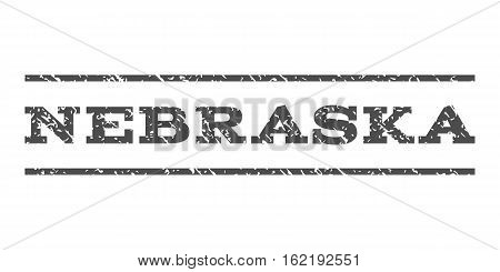Nebraska watermark stamp. Text tag between horizontal parallel lines with grunge design style. Rubber seal stamp with dirty texture. Vector gray color ink imprint on a white background.