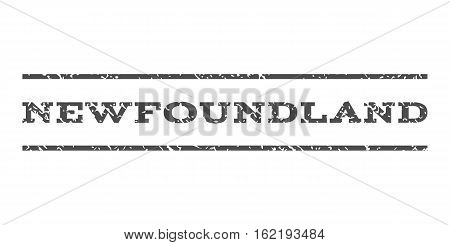 Newfoundland watermark stamp. Text tag between horizontal parallel lines with grunge design style. Rubber seal stamp with dust texture. Vector gray color ink imprint on a white background.