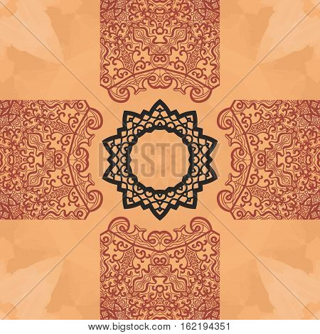 Seamless mandala card. Geometric circle element in vector. Perfect cover or any other kind of design, birthday and other holiday postcard, kaleidoscope medallion, yoga yantra, indian motifs.