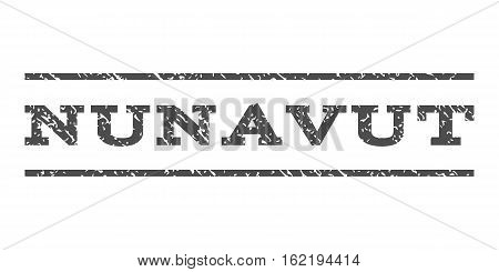 Nunavut watermark stamp. Text tag between horizontal parallel lines with grunge design style. Rubber seal stamp with scratched texture. Vector gray color ink imprint on a white background.