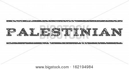 Palestinian watermark stamp. Text tag between horizontal parallel lines with grunge design style. Rubber seal stamp with scratched texture. Vector gray color ink imprint on a white background.