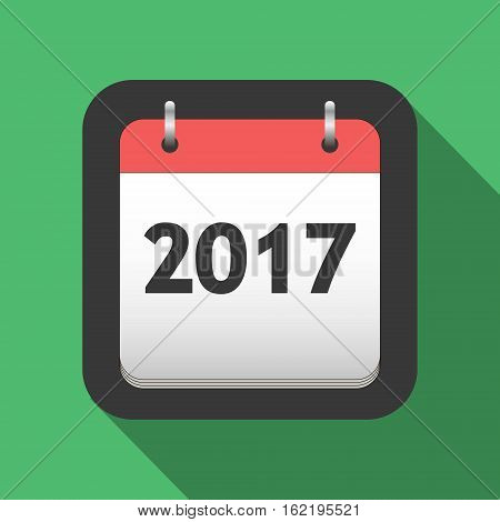 2017 calendar flat icon, title page of calendar for 2017 in flat style, vector