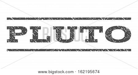 Pluto watermark stamp. Text caption between horizontal parallel lines with grunge design style. Rubber seal stamp with unclean texture. Vector gray color ink imprint on a white background.