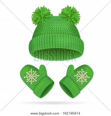 Green Hat with a Pompom and Mitten Set Warm Clothing for Cold. Vector illustration