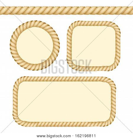Different Thickness Rope Line and Frames or Borders Set Ready to Use with Space for Text. Vector illustration