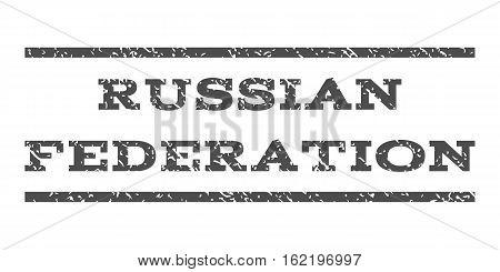 Russian Federation watermark stamp. Text caption between horizontal parallel lines with grunge design style. Rubber seal stamp with unclean texture.