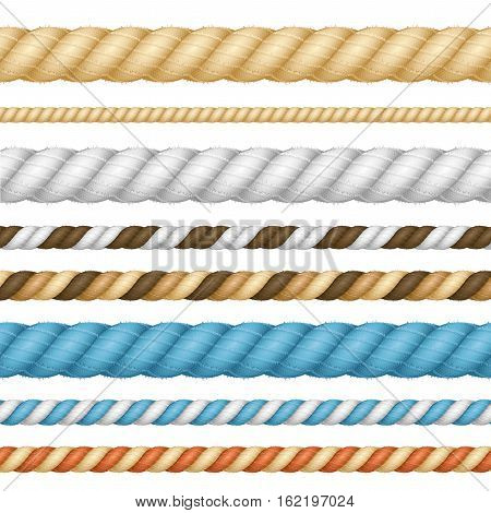 Different Color Thickness Rope Line Set Twisted Nautical Cord for Borders or Frames. Vector illustration