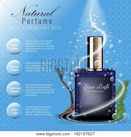 Perfume ads template, glass bottle mockup for ads or magazine. Transparent liquid drip on background. 3D illustration.