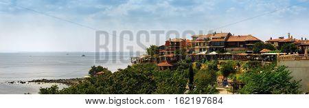 Nesebar Bulgaria - August 30 2013: Seaside resort and ancient town Nessebar in Bulgaria. Bulgarian Black Sea Coast. UNESCO world heritage site. Panoramic shot.