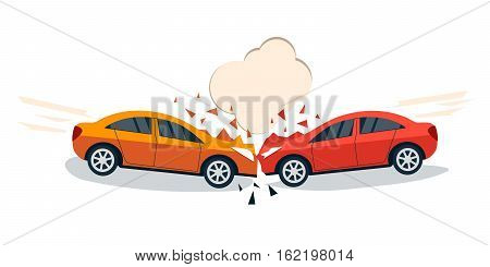Car accident comic style vector illustration. Two cars hit head-on. Car accident flat design. Car crash banner.
