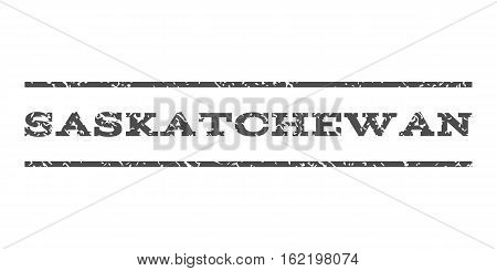 Saskatchewan watermark stamp. Text tag between horizontal parallel lines with grunge design style. Rubber seal stamp with dust texture. Vector gray color ink imprint on a white background.