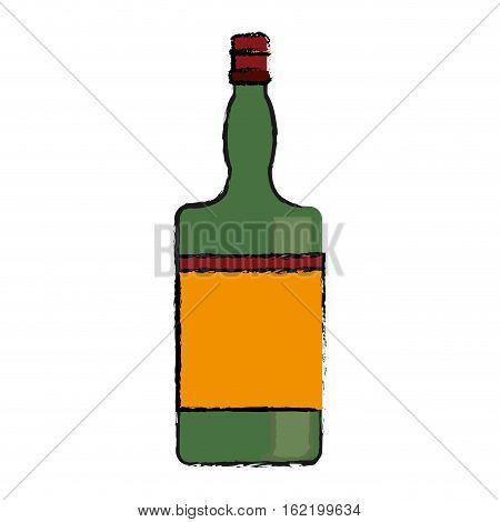 drawing green bottle whiskey expensive liquor vector illustration eps 10