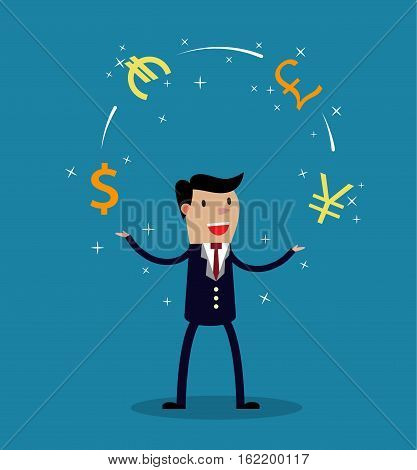 Businessman juggle with different currency. Financial success. vector illustration in flat style