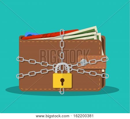 Closed brown leather wallet with dollar cash, coins, debit credit cards inside and locked pad lock with chain. vector illustration in flat design on green background
