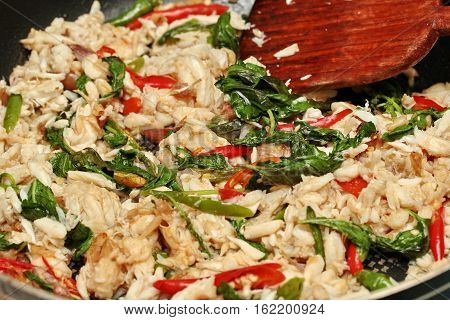 Cooking  Stir - Fried Crad With Chili And Basil Leaf.