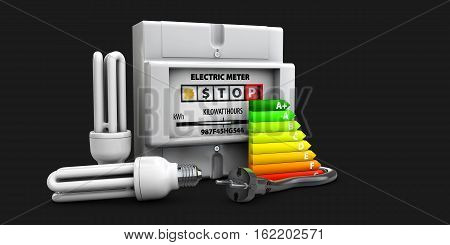 3D Illustration Of Bulb, Electricity Meter Isolated On Black
