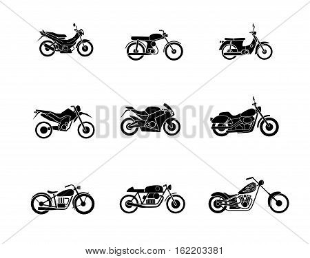motorbike silhouette icons set, isolated vector illustration