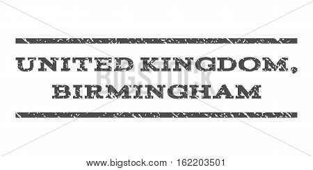 United Kingdom, Birmingham watermark stamp. Text tag between horizontal parallel lines with grunge design style. Rubber seal stamp with dirty texture.