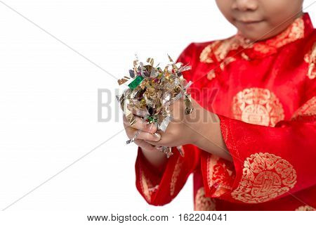 Happy Vietnamese Boy In Red Ao Dai Celebrating New Year With Confetti. Asian Kid Celebrating New Yea