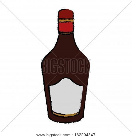 drawing bottle cream whiskey liqueur icon drink vector illustration eps 10