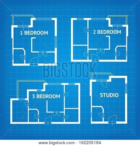 Apartment Floor Plan Unfurnished Set Blueprint Design Elements. Vector illustration