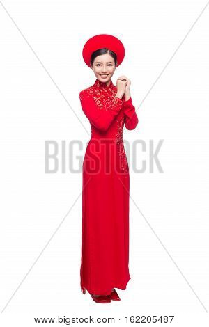 Beautiful asian bride in traditional costume Ao Dai
