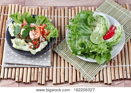 Spicy And Sour Shrimp Salad With Mixed Vegetable.
