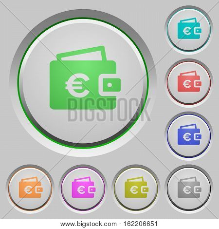 Euro wallet color icons on sunk push buttons