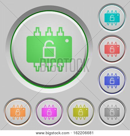 Hardware unlocked color icons on sunk push buttons