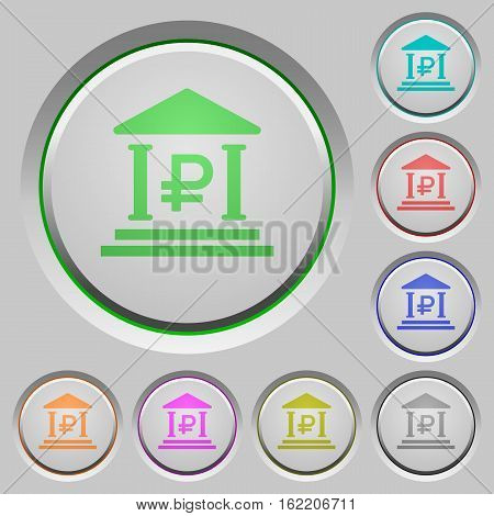 Ruble bank color icons on sunk push buttons
