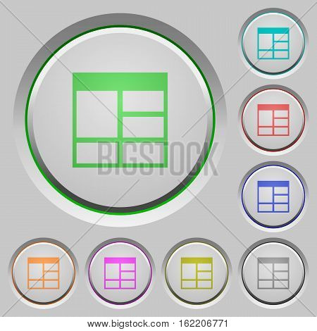 Spreadsheet vertically merge table cells color icons on sunk push buttons