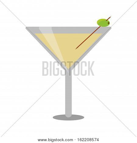 glass cocktail martini with olive vector illustration eps 10