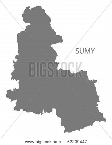 Sumy Ukraine Map grey province silhouette illustration