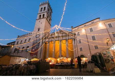 ASSISI, ITALY - DECEMBER 16, 2016: The christmas market in the Assisi square