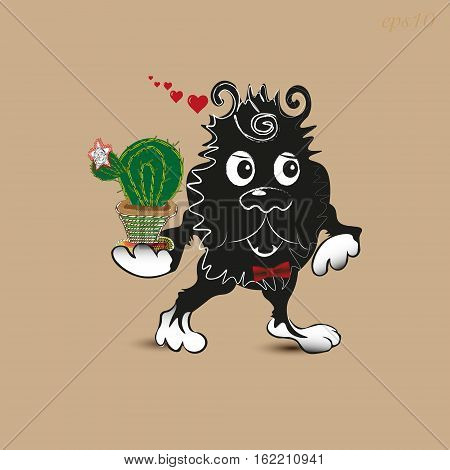 In Love Monster Greeting Postcard animal cactus good gift eye paw shaggy beast author work handmade cartoon style shadow nose ear eps10 Valentine heart illustration Stock vector
