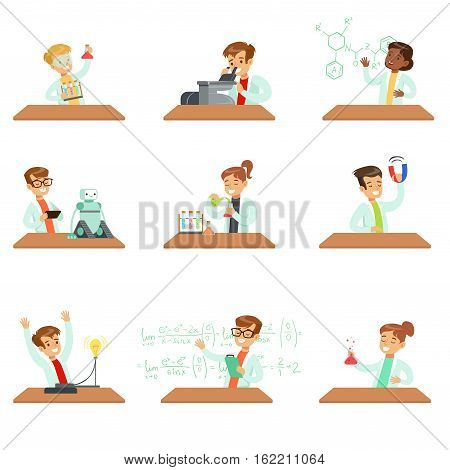 Teens In Lab Coats Doing Science Research Dreaming Of Becoming Professional Scientists In The Future Set Of Cartoon Characters. Collection Of Smiling Children Working As Physicists, Chemists And In Other Scientific Fields, Doing Experiments.