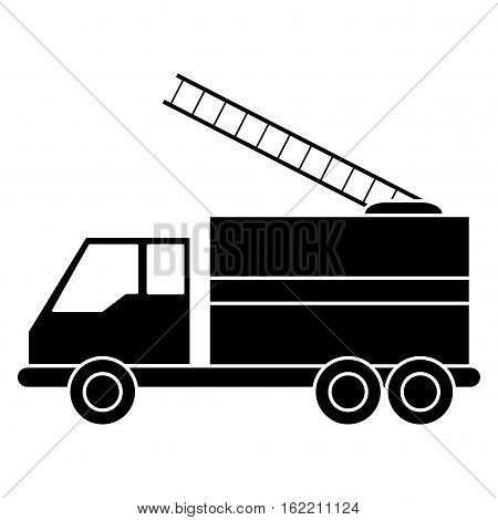 silhouette truck fire rescue urgency attention vector illustration eps 10