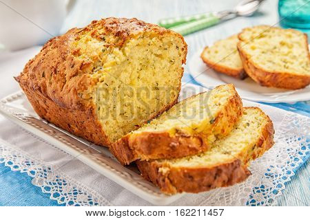 Delicious zucchini bread loaf on a table