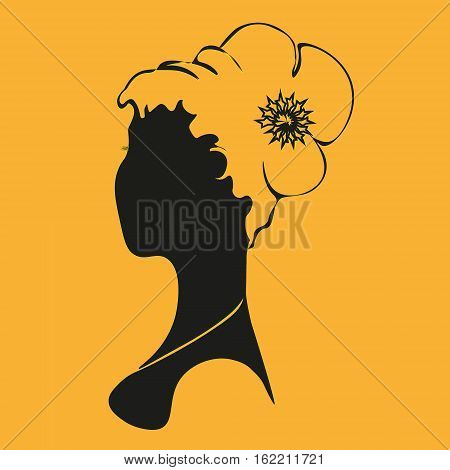 Young woman bust Abstract author print design girl hairstyle a fullface style silhouette pattern handmade decoration eps10 vector illustration Stock