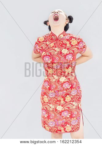 Asian Lady With Red Cheongsam Qipao Chinese Dress Show Hurt Back
