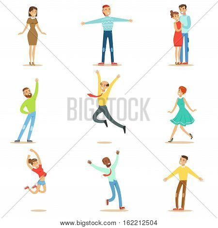 People Overwhelmed Of Happiness And Joyfully Ecstatic Collection Of Happy Smiling Cartoon Characters. Man And Women Excited And Blissful With Positive Emotions Vector Illustrations.